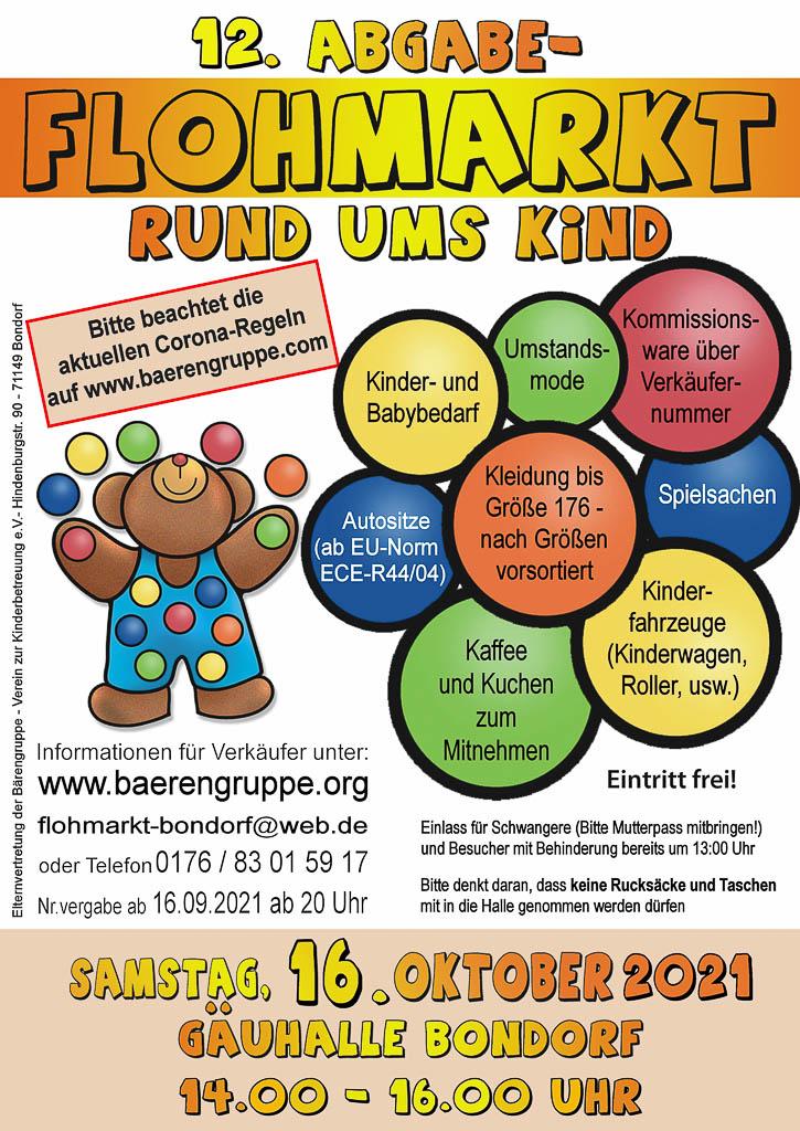Abgabe Flohmarkt rund ums Kind Bärengruppe Kinderartikel Gäuhalle Bondorf Plakat 2021